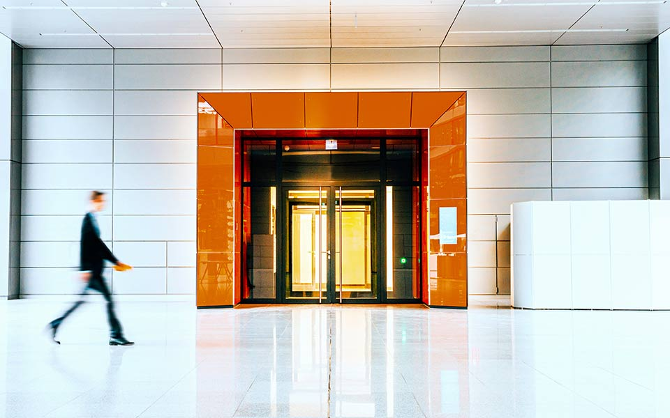 Office with orange door